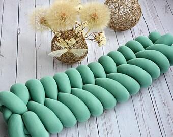 FISHTAIL PILLOW, knot pillow, knot cushion, decorative pillow, green cushion, bolster pillow, living room decor, long pillow, home decor