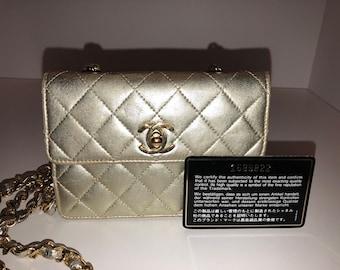 Chanel vintage gold metallic evening bag
