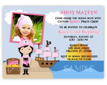 Pirate Girl in the Ocean photo card Birthday Invitation (You Print)