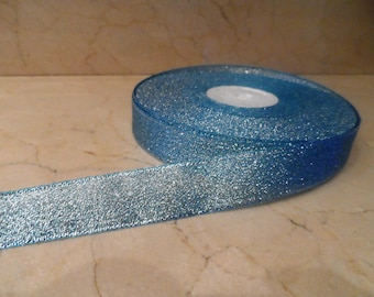 2 metres of Blue Ribbon with glitter 20 mm