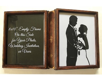 OOAK Vintage Book Frame with Your Custom  Hand Cut Wedding Silhouette First Anniversary Gift