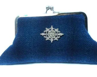 Harris Tweed Evening Clutch Bag - Blue Check Harris Tweed with diamante brooch - tartan plaid handbag purse