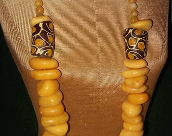 Ghana Gold  Trade beads.  Necklace and Earrings