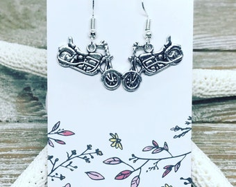 Tibetan silver motorcycle earrings on nickel free ear wires.