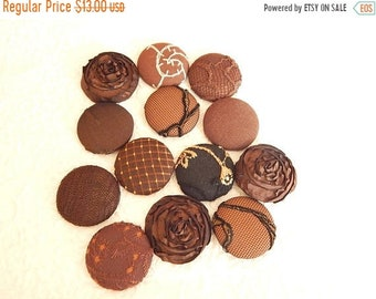 CLEARANCE - Dark brown fabric buttons, lot of 10, embroidered buttons, 1.5 inches, size 60 buttons