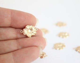 1 Piece - 14k Gold Filled Flower Connector - 11.1x15.8mm Gold Hibiscus Charm - Smooth Flat Charm - Findings Bulk Jewelry Supplies / GF-CB012