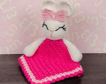 Olivia the Bunny Lovey / Security Blanket - PDF Crochet Pattern - Instant Download - Blankie Baby Blanket