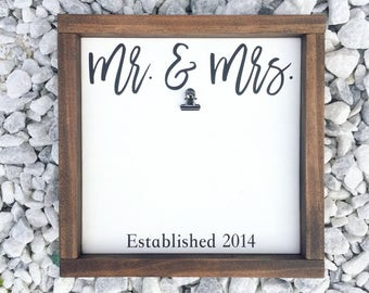 Mr & Mrs, Mr and Mrs, Mr and Mrs Frame, Established Sign, Personalized Wedding Frame, Wedding Gift, Wedding Picture Frame, Anniversary Frame