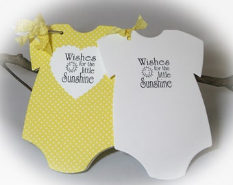 You Are My Sunshine Baby Shower IDEA BIG Onesie Tags / Baby Shower  Games/gender Neutral  BABY Shower Game/ White Cardstock/Yellow Dot Wr
