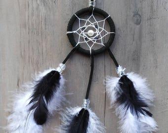 Handmade mini small dream catcher Black and White