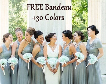 Light Grey Bridesmaid Dresses with Pink Flowers