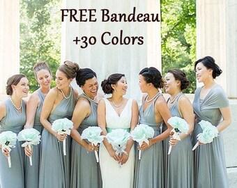 Silver Gray Bridesmaid dress, Light Grey Long Ball gown infinity dress, convertible dress, Wrap Dress, prom dress multiway dress party dress