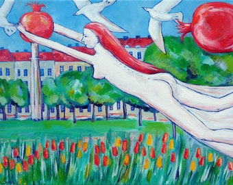 Original art oil on canvas for home decoration positive painting with bright colors GIRL FLYING with magic pomegranate