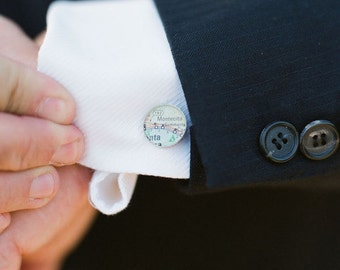Style Me Pretty Feature  - Vintage Map Cufflinks. You Select the Journey.
