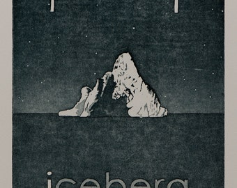 Original Print - Artwork for Children - 'I for Iceberg' Original Etching by William white - Original Hand Pulled Print - FREE SHIPPING