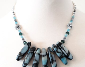 Blue Necklace, Bib Statement Necklace, Gemstone Necklace, Jasper Necklace, Graduated Necklace. Blue Stone Necklace, Bohemian Necklace,