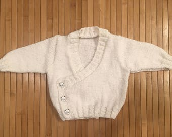 Wrap / White Cardigan for baby size newborn