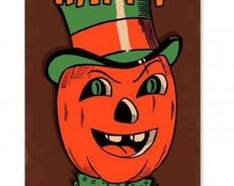 "Metal Sign "" Halloween Pumpkin Jack O Lantern "" 8""x14"" Man Cave"