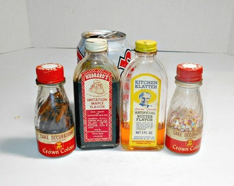 Old Fashion Flavoring Bottles,Crown Colony,Crown Colony Bottles,Hubbard Bottles,Kitchen Flavoring Bottles,Old Kitchen Bottles,Kitchen Bottle