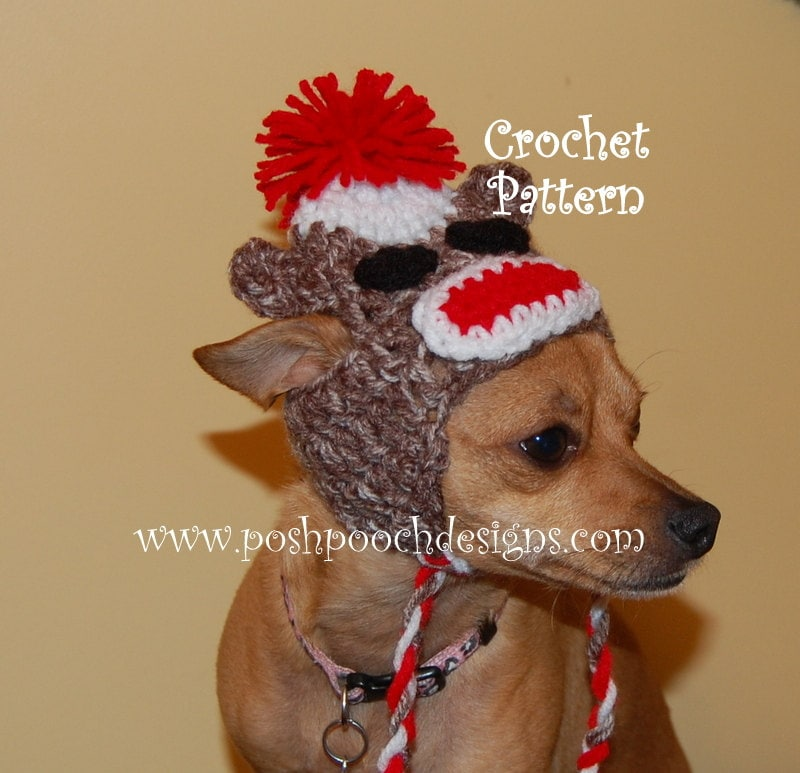 Instant Download Crochet Pattern Sock Monkey Dog Hat With