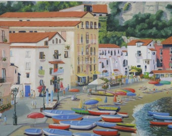 Marina Grande,Sorrento,Italy Mounted Giclee Print from an Original Oil Painting