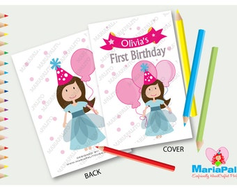 6 Little Girl Coloring Books, Little Girl with a Ballon Birthday Personalized Coloring Books Party Favors  A1076