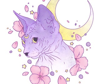 Luna On White A3 Print