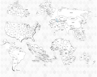 Coloring World Map Etsy
