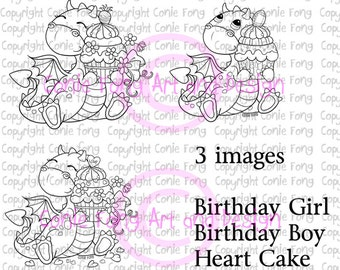 Digital Stamp, Digi Stamp, digistamp, Tori the Dragon with Cake by Conie Fong, cupcake, birthday, celebration, congratulation, coloring page