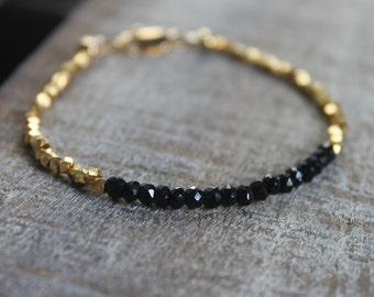 Genuine spinel faced gemstone and Karen Hill Tribe Gold vermeil bead bracelet, black spinel, sundance style, grmstine stacking bracelet