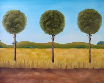 Original Landscape Painting, Oil Painting, Tree Painting, Trio, 16x20 Framed, Ready To Hang, Original Artwork, Home Decor, Nature Painting
