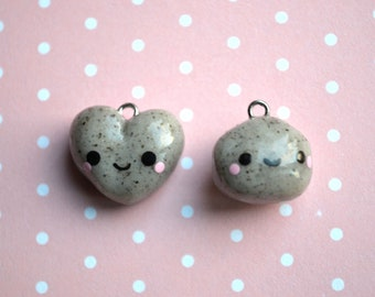 Heart / Regular Rock Charm - Kawaii Polymer Clay