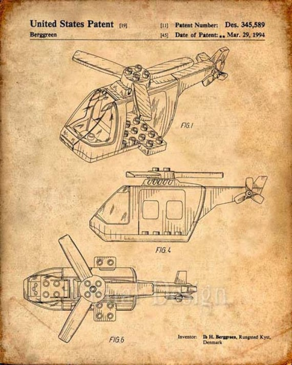 Lego Helicopter Patent Print Lego Toy Building Blocks Lego