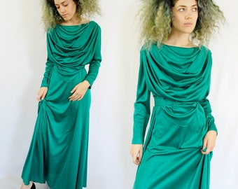 Maxi length retro prom dress with long sleeve and cowl neck 1970s 70s VINTAGE