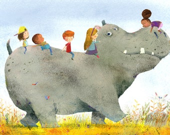 Hippo and Kids Print