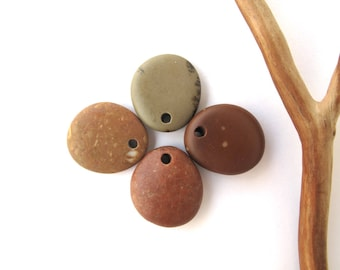 Beach Stone Pendants Mediterranean River Stone Pendants Top Drilled Natural Stones DIY Jewelry Findings Pebble Beads COLOUR QUARTET 20 mm