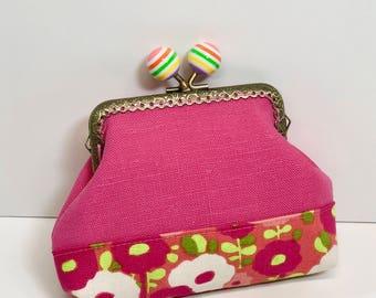 Rainbow Ball Kisslock Coin Purse in Pink