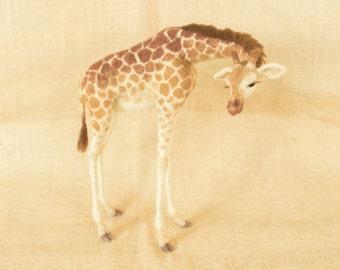Made to Order Needle Felted Giraffe: Custom needle felted animal sculpture