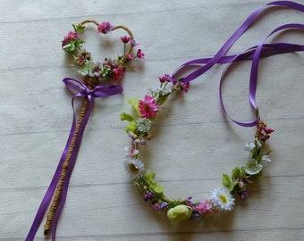 Bridesmaid Flower Girl Wildflower Rustic Wedding heart shape  Wand Matching Flower Crown. Wildflower meadow flowers