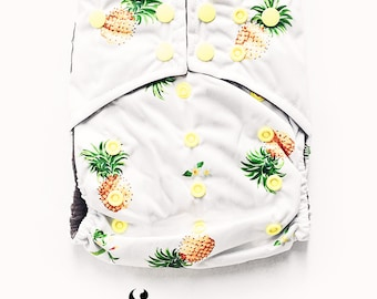 Cloth Diapers, Cloth Diaper Pattern, One Size, All in one, Modern, Bamboo, Nappies, Baby Diaper, Baby Diaper Cover, Pineapple, Yellow