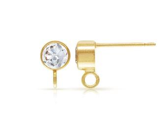 14Kt Gold Filled 4.0mm CZ Tubez Post Earring W/Ring  - 1pr High Quality Ear Posts (6458)/1