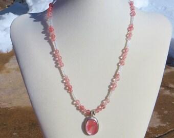 N-27 Cherry Quartz Sterling Silver Pendant Necklace, Silversmith Pendant, 925 Necklace, Silversmith Jewelry, Cherry Quartz Pendant