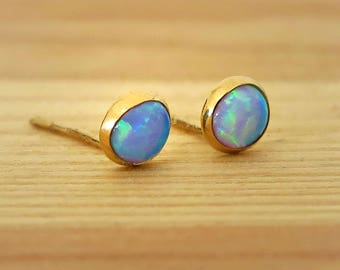 14K Gold Opal Studs | Blue Opal Earrings | Gold Stud Earrings | 14K Gold Earrings | Gold Studs | Tiny Opal Earrings | October Birthstone