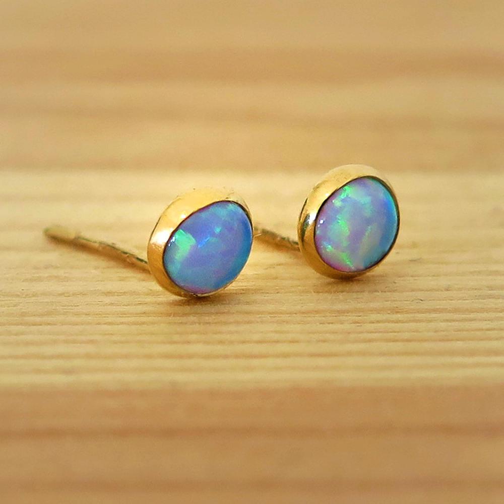 14k gold opal studs blue opal earrings gold stud earrings. Black Bedroom Furniture Sets. Home Design Ideas