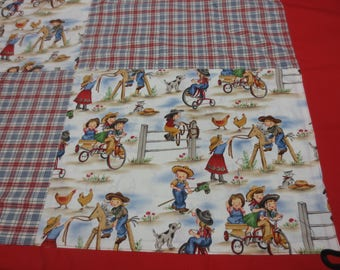Quilt Top, Nostalgic Children's Print with Red Border