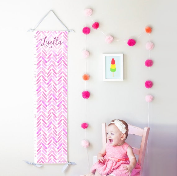 Personalized Purple, Pink and Lavender Watercolor Chevron Growth Chart