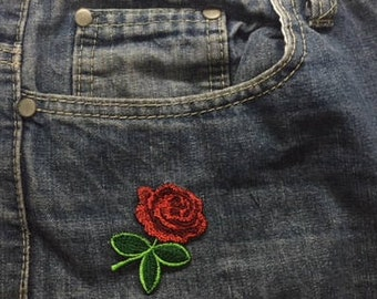 red rose embroidery iron on sew mini patch