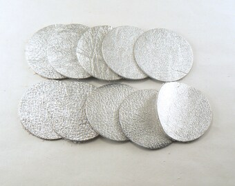 """1.5"""" Silver Leather Circles - 10 Die Cut Leather Circles - Leather Circle Appliques -  Leather Disks - Craft Leather Circles"""