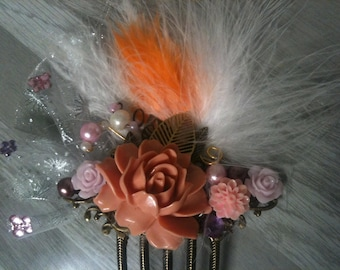 Big bridal hair comb pink and salmon flowers-salmon bridal bunny picks-salmon bridal hair picks-salmon bridal hair fork-decorative hair comb