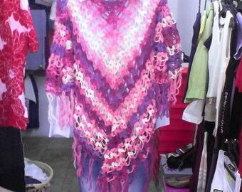 Poncho crochet with beads,Wool poncho with glass beads